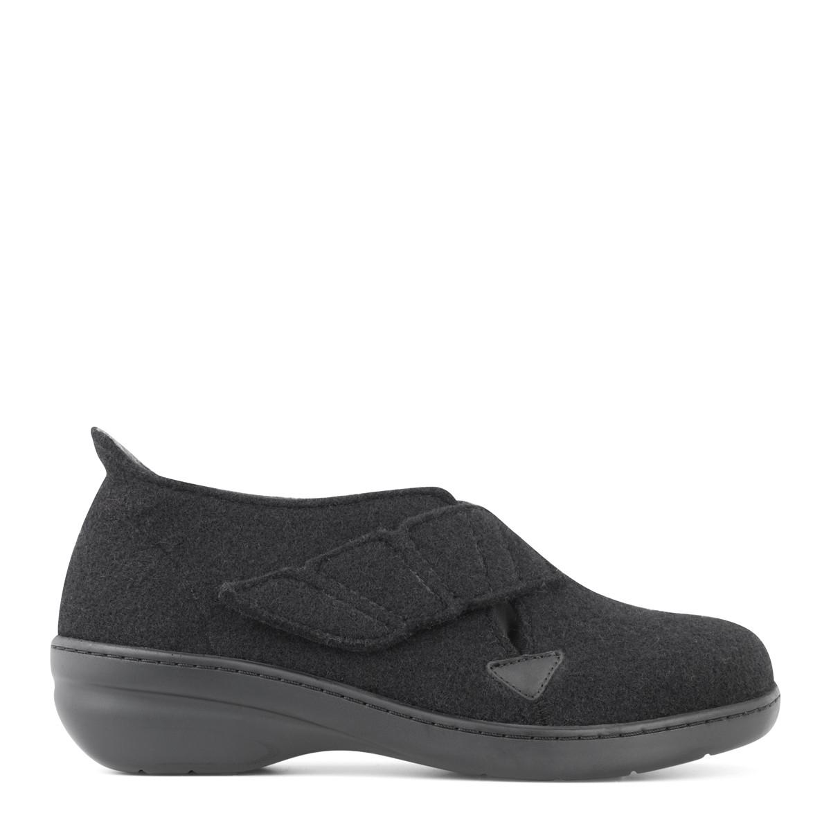 New Feet dame hjemmesko i uld med lille hæl og med hælkappe (sort) fra