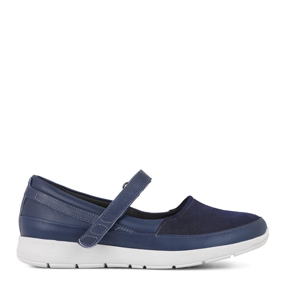 New Feet ballerina i blå strækskind fra