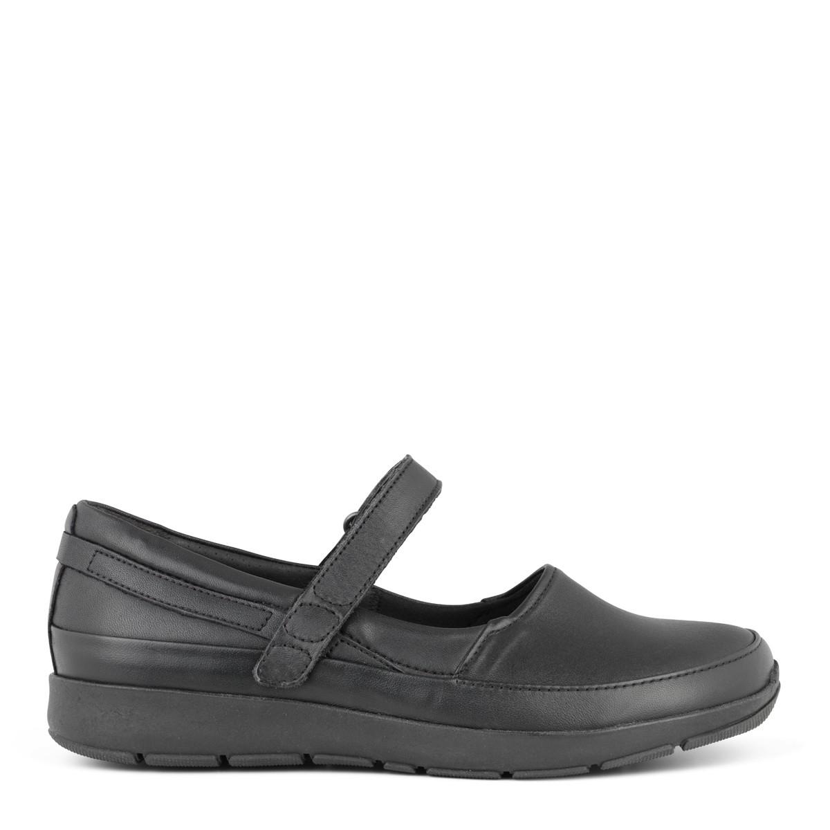 New Feet ballerina i sort strækskind fra