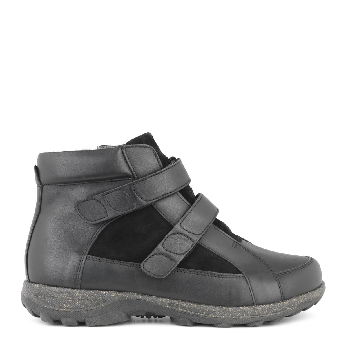 New Feet damestøvle i strækskind med velcrolukning og varmt for - ekstra bred