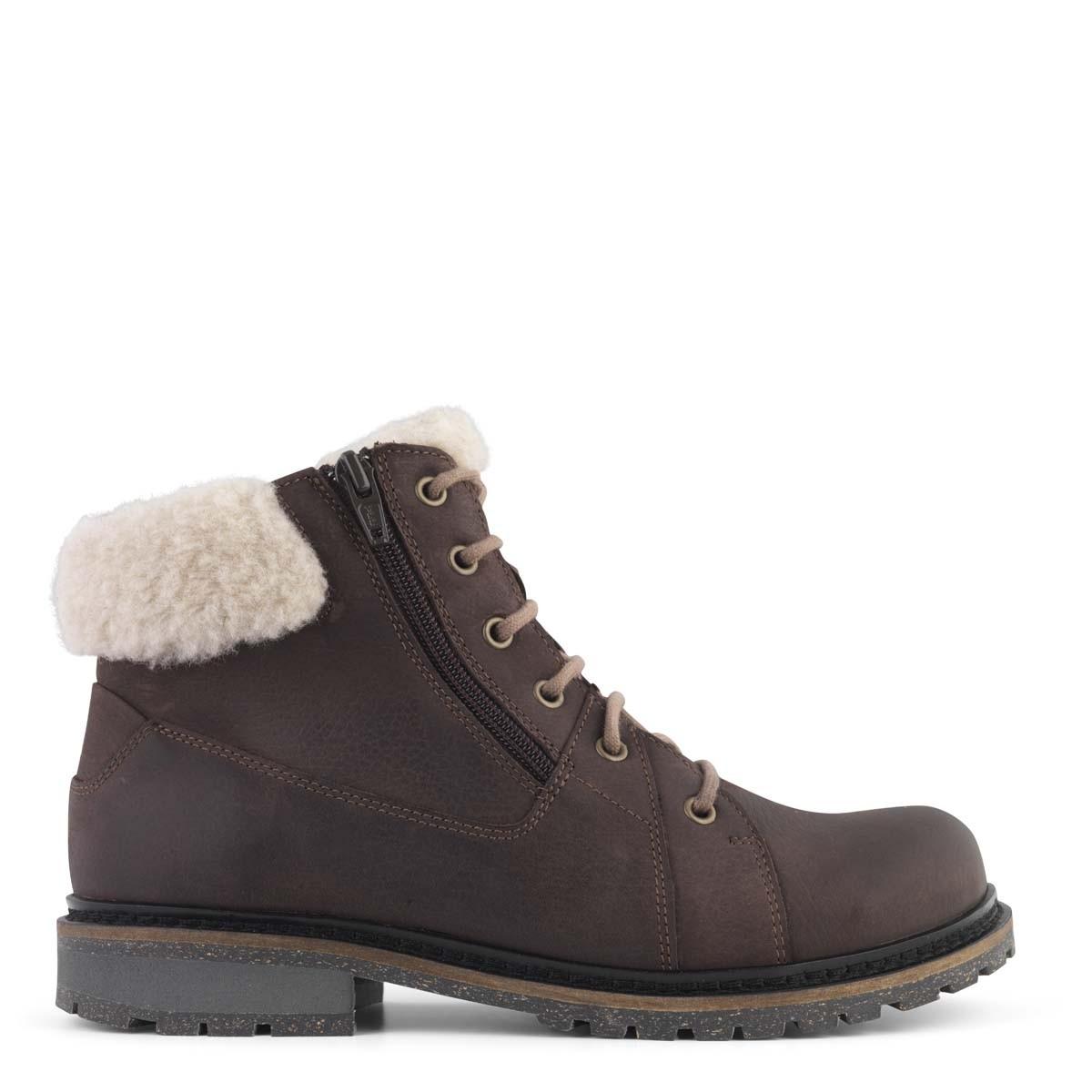New Feet varm støvle i brun kalveskind fra