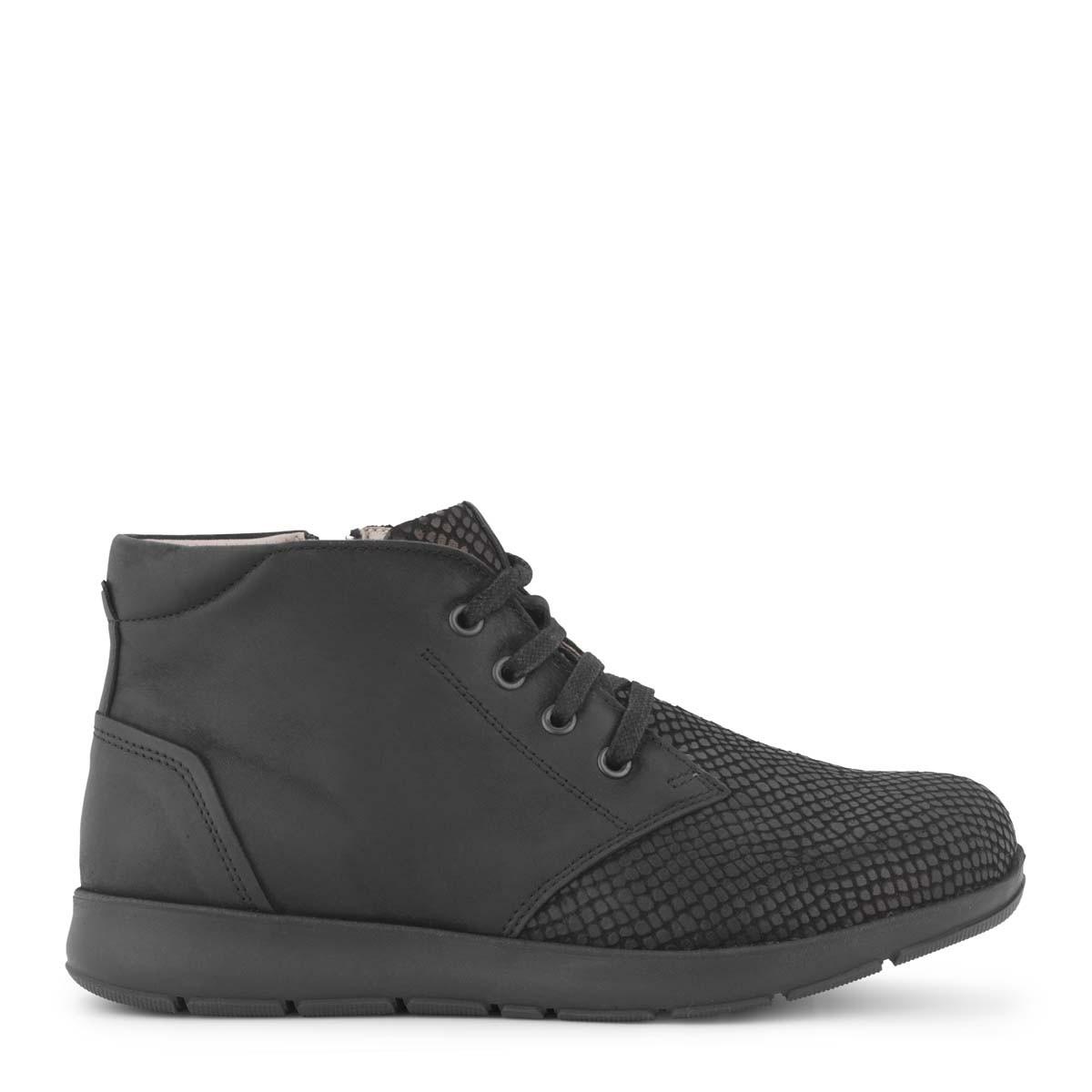 New Feet sort støvlet med lynlås