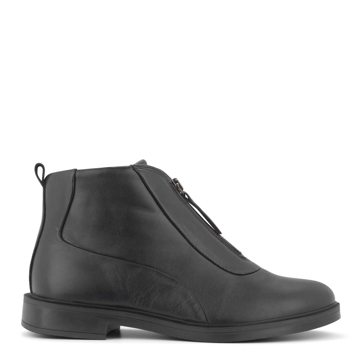 New Feet klassisk læderstøvle med lynlås