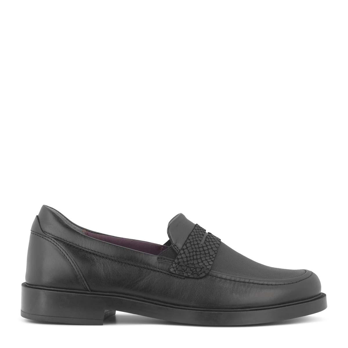 New Feet sort loafer med strækskind fra
