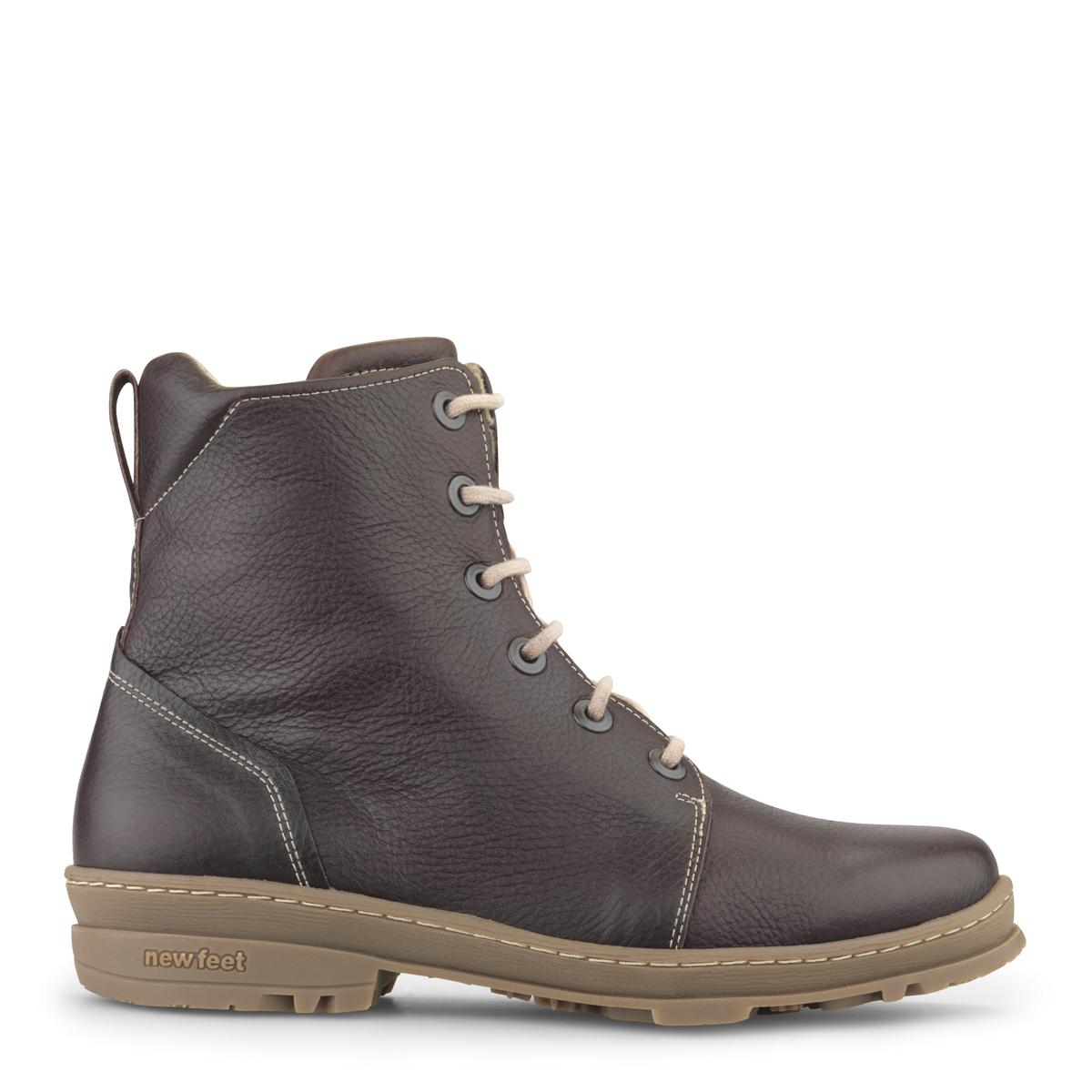 Image of   New Feet dame snørestøvle i brun skind