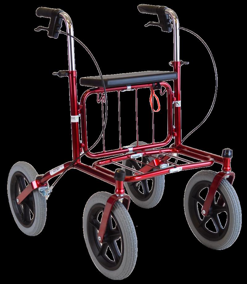 Carl Oscar - udendørs rollator med store lufthjul