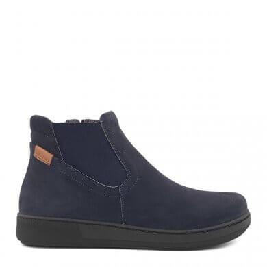 Blå støvle med elastik til kvinder - ekstra bred