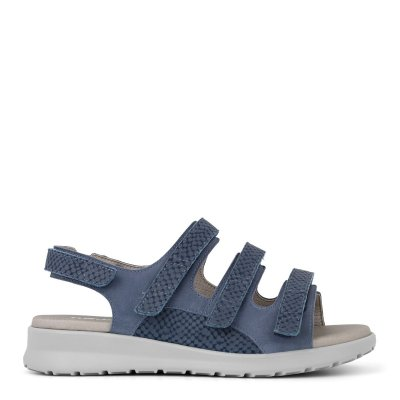 Lækker sandal fra New Feet i blå kalveskind.