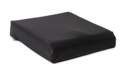 Trykaflastende siddepude i viskoselastisk skum, vaskbart, sort vandtæt betræk, god til stol og kørestol