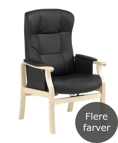 Sorø hvilestol i lys lak med sort læder polstring