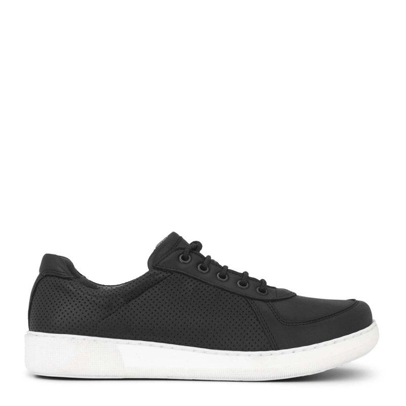 New Feet damesko i sort læder ekstra bred