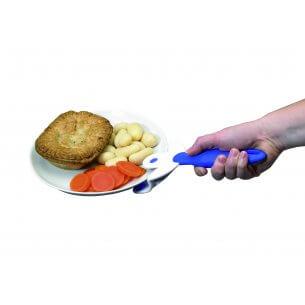 Grebet sættes på den varme tallerken, og kan bruges til at bære den med. Skånsom mod håndled.