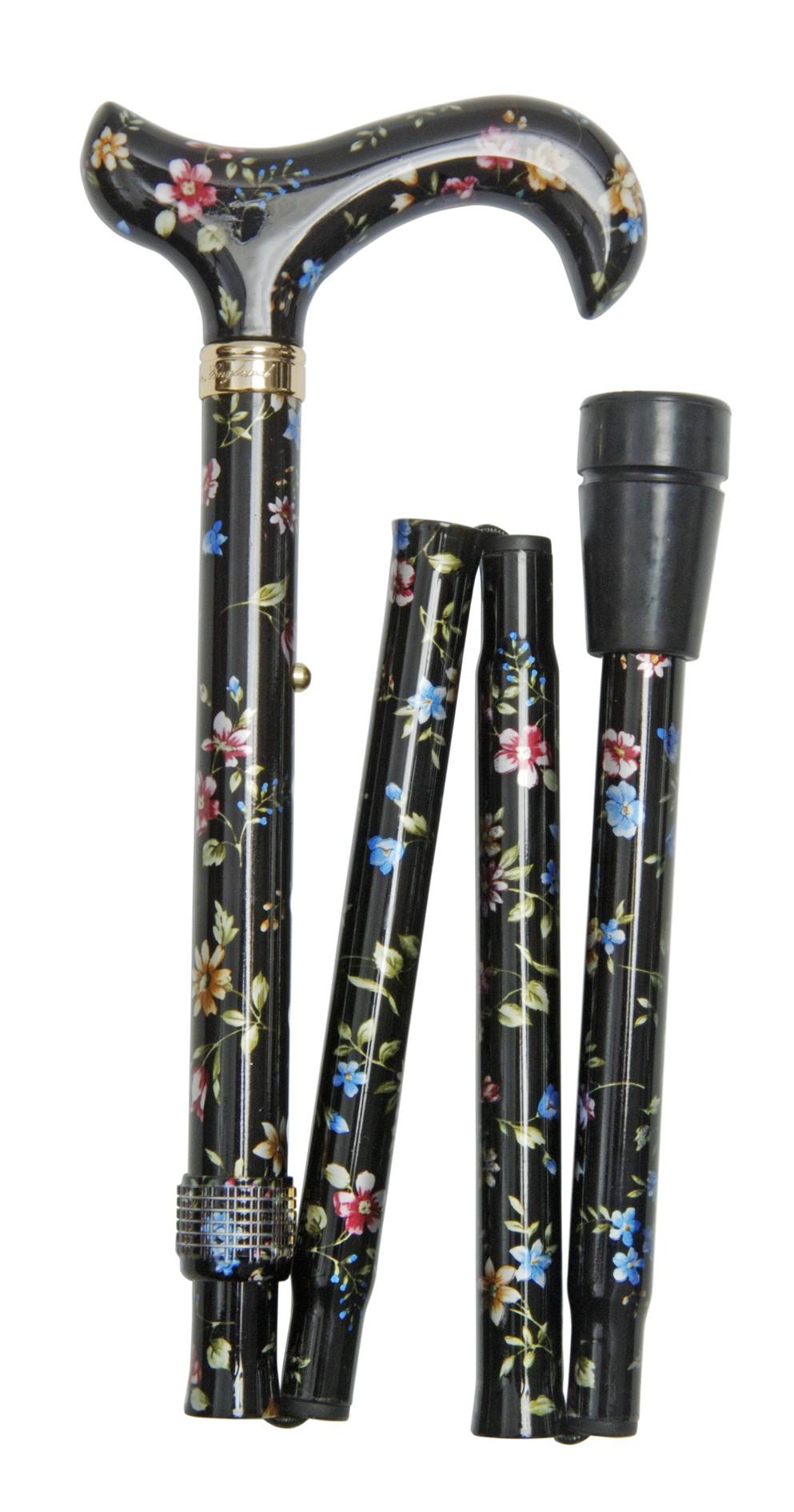 Image of   Foldbar stok, derby-greb, højdejusterbar, sort med mønster