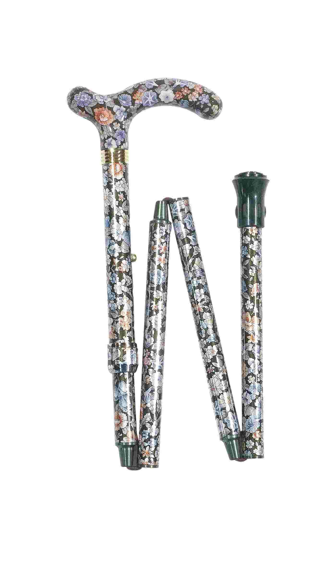 Foldbar/sammenklappelig stok, lille greb, højdejusterbar, mønstret – pris 349.00