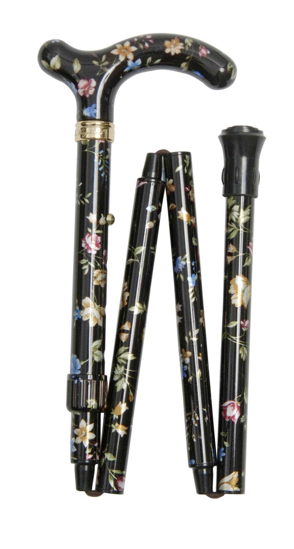 Image of   Foldbar/sammenklappelig stok, lille greb, højdejusterbar, sort med mønster