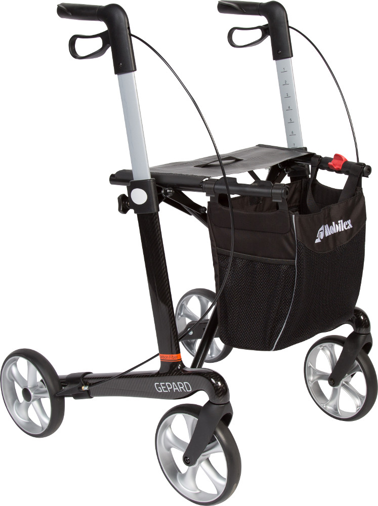 Mobilex Gepard – letvægtsrollator i kulfiber (5,8 kg.) – pris 4200.00