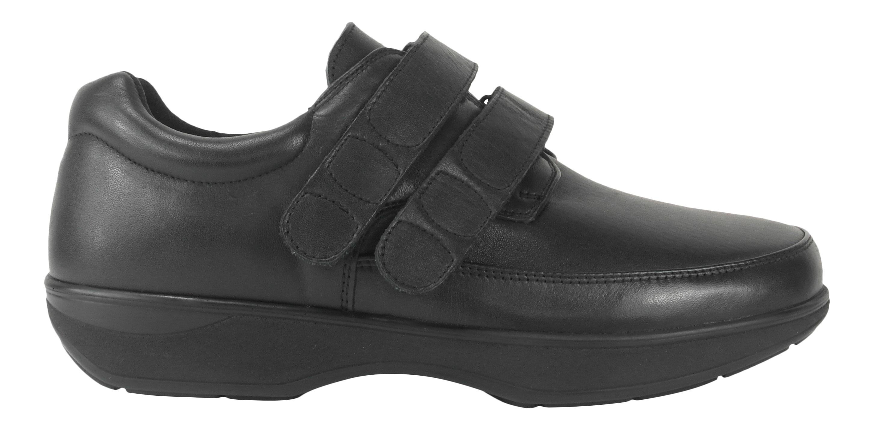 Image of   New Feet herresko i strækskind og med velcrolukning - ekstra bred