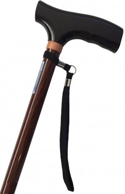 Klassisk brun spadserestok, højdejusterbar