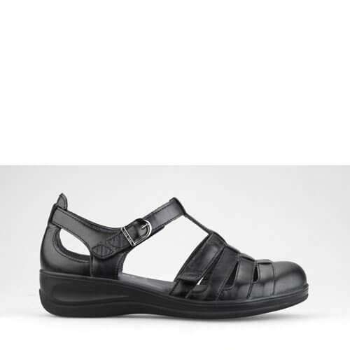 2477aa69a31 Klassisk damesandal fra New Feet i glat sort kalveskind