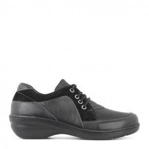 New Feet damesko i sort læder med lille hælløft