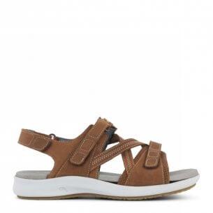 New Feet damesandal i brun - ekstra bred
