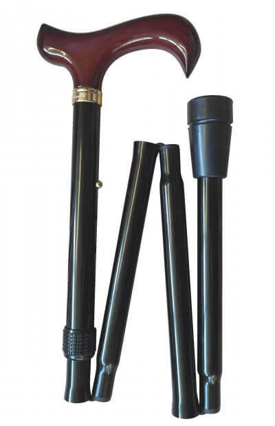 Sammenklappelig stok med derby-greb, højdejusterbar, skridsikker dupsko, sort
