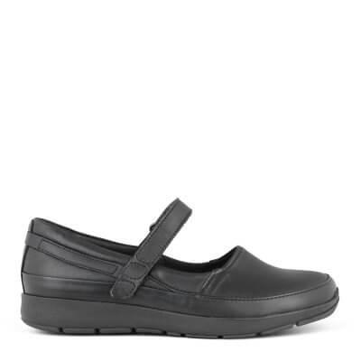 New Feet ballerina i sort strækskind