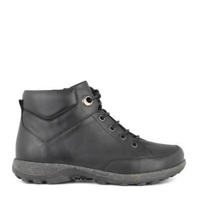 New Feet damestøvle i strækskind med snørrebånd og lynlås - ekstra bred