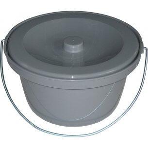 Løst bækken til toiletstole - med låg og hank