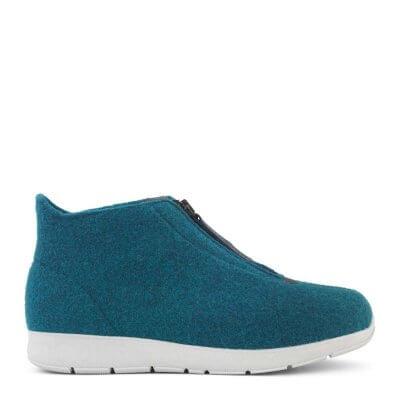 New Feet hjemmesko i uld med kort skaft (petroleum)