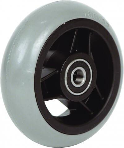 """4"""" gummibanehjul inkl. afstandsbøsninger (100x26)"""