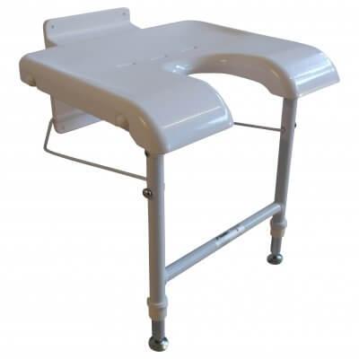 Væghængt badestol - understøttes med ben foran