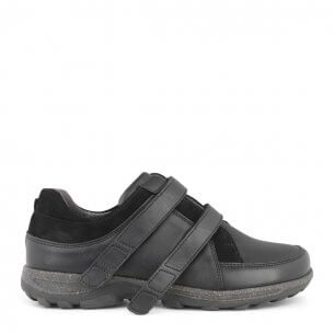New Feet damesko i strækskind med velcrolukning - ekstra bred