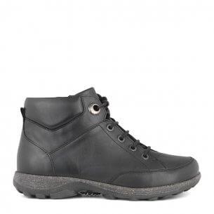 31eb76dd4d0c New Feet damestøvle i strækskind med snørrebånd og lynlås - ekstra bred