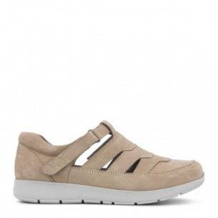 New Feet sandalsko i sandfarvet skind.