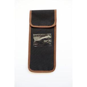 Taske til sammenklappelig stok, sort med brune kanter