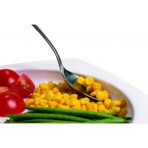 Tallerken med høj kant, gør det muligt at spise med en hånd, praktisk for fx ældre