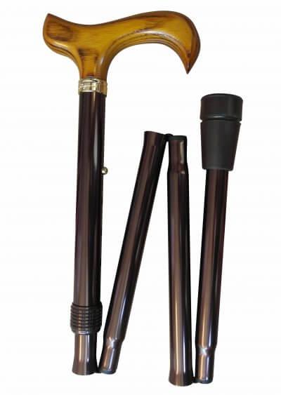 Foldestok, nem at lukke sammen, brun, kan ændres i højden