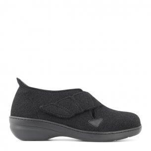 New Feet dame hjemmesko i uld med lille hæl og med hælkappe (sort)