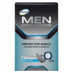 Der er 14 stk. i en pakke Tena Men Extra Light
