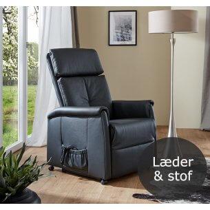 Livø løftestol med sort læderpolstring