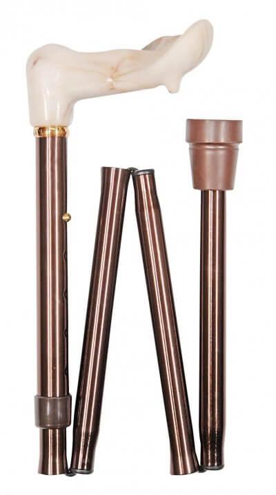 Sammenklappelig stok med ergonomisk greb, højdejusterbar