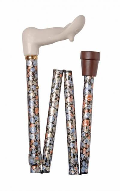 Foldbar stok med anatomisk greb, kan ændres i højden, brun dupsko
