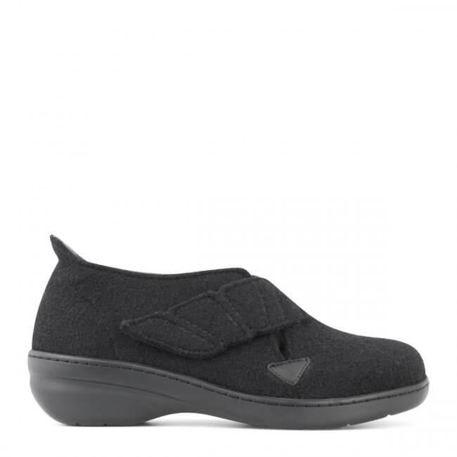 c1dd80c6c96 New Feet dame hjemmesko i uld med lille hæl og med hælkappe (sort)