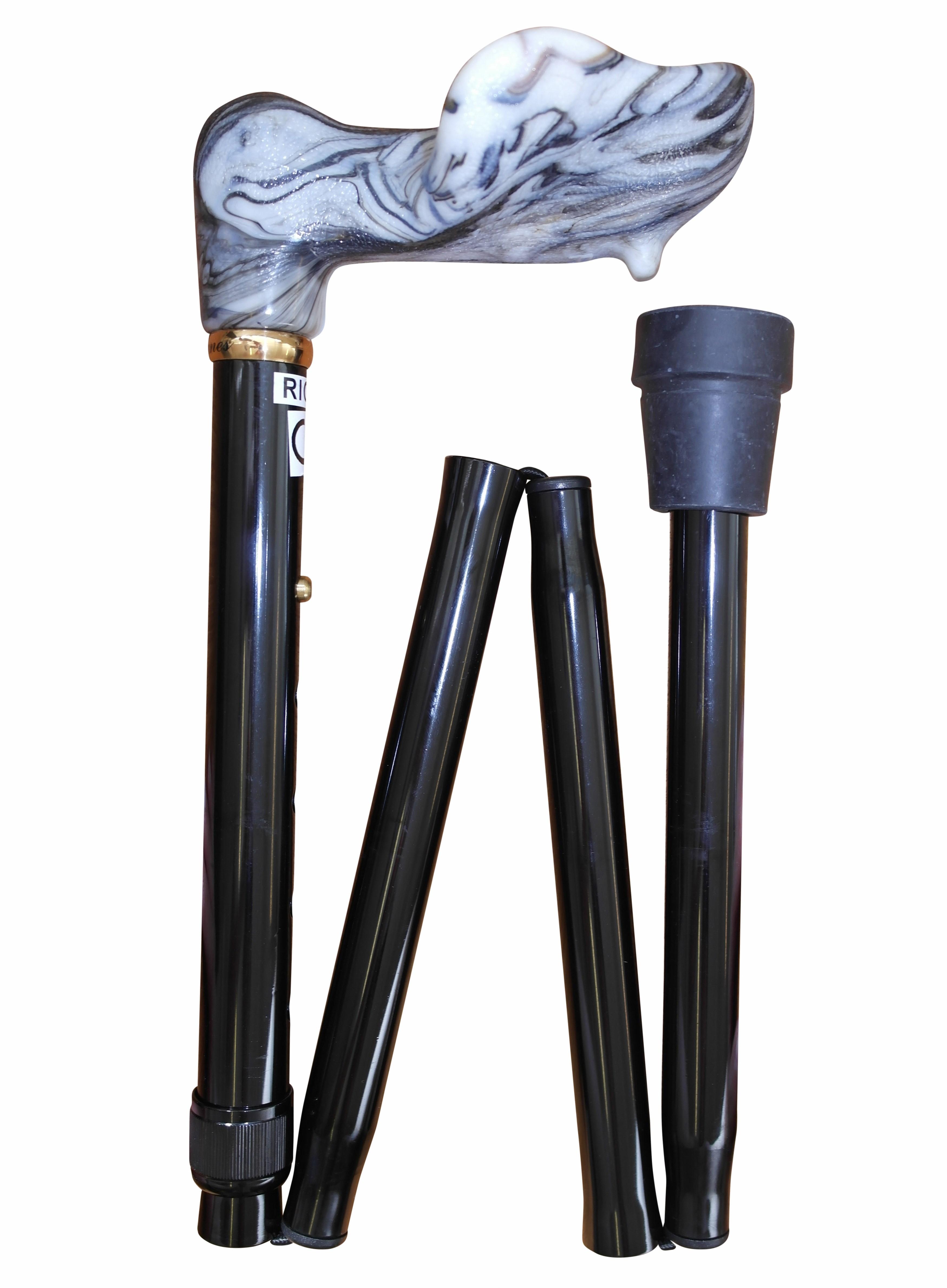 Image of   Foldbar stok med anatomisk greb, højdejusterbar, sort
